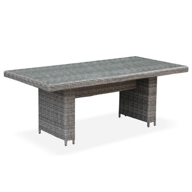 Table de jardin en résine tressée arrondie - Lecco Gris - Coussins beige -  6 places - 6 fauteuils, une grande table