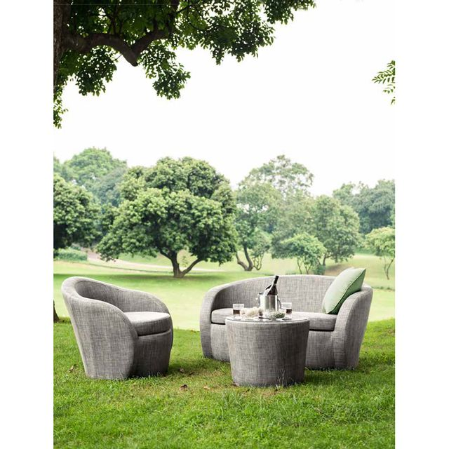 Artie - Salon de jardin Lotus Textilène taupe : 2 places 1 + 1 - pas ...