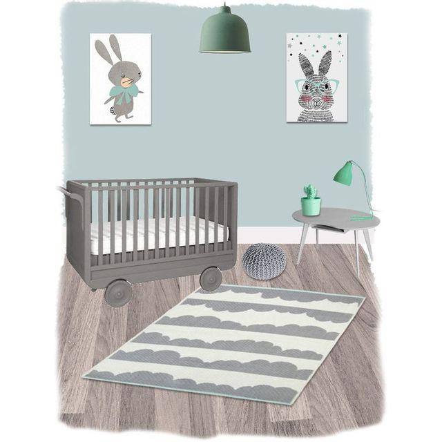 Nattiot - Tapis Daphne Gris rectangle pour Chambre bébé par ...
