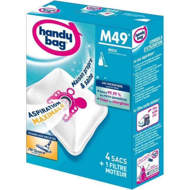 HANDY BAG Sac aspirateur microfibre anti-allergène + filtre moteur - M49