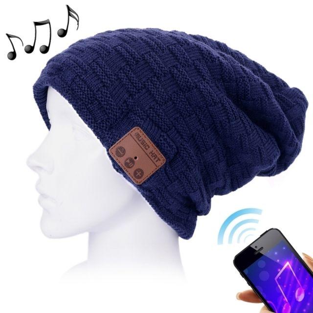 Wewoo - Bonnet Connecté bleu foncé pour garçon et fille adultes texturé  tricoté casque Bluetooth chaud 08424bc711b