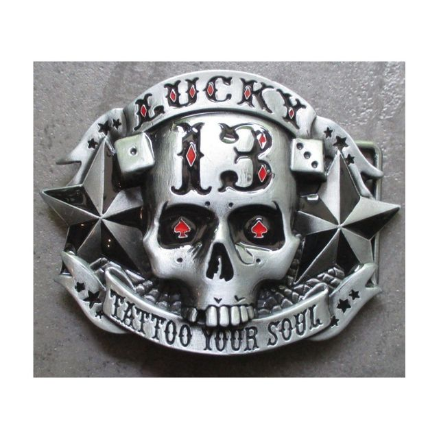 Universel - Boucle de ceinture Lucky 13 tattoo your soul crane tete mort dc0a282f4ce