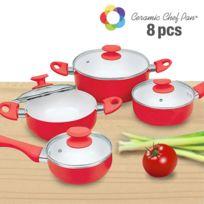 Appetitissime - Batterie de Cuisine Ceramic Chef Pan 8 pièces, Couleur Rouge