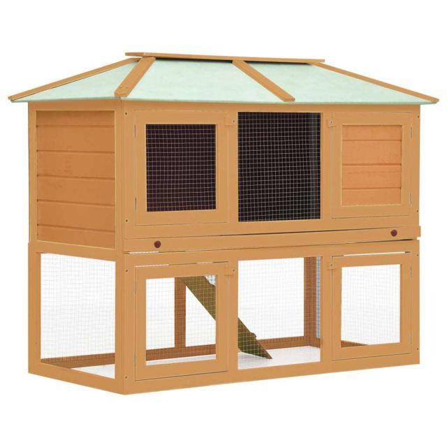 Vidaxl Cage double pour animaux Bois