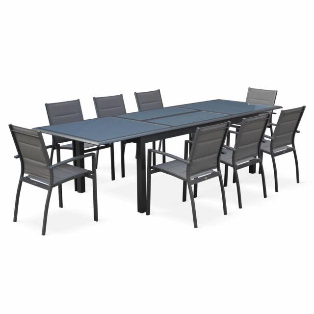 alice 39 s garden salon de jardin table extensible philadelphie gris anthracite table en. Black Bedroom Furniture Sets. Home Design Ideas