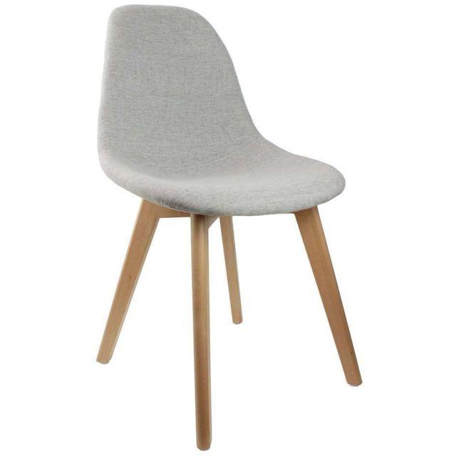 the home deco factory chaise scandinave en tissu et pieds en bois gris - Pied De Chaise Scandinave