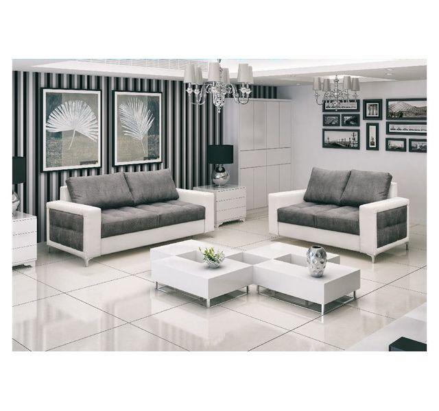 chloe design canap 32 design lucy gris et blanc 92cm x 94cm x 210cm achat vente canaps pas chers rueducommerce - Canape Blanc Design
