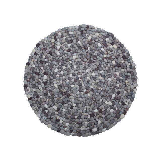 BELIANI Tapis rond en tissu gris AMDO - coloré