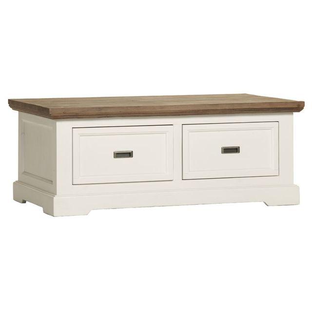 Kasalinea Table basse avec tiroirs contemporaine en bois massif blanc Emeline