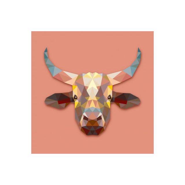 declikdeco tableau animaux vache 60x60 pas cher achat vente tableaux peintures. Black Bedroom Furniture Sets. Home Design Ideas