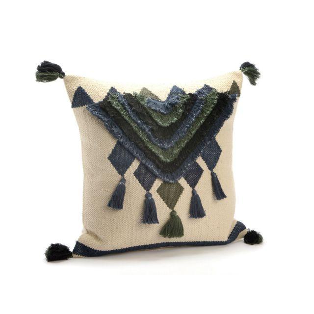 Amadeus - Coussin 100% coton L.45cm x H.45cm ethnique pompon et frange vert bleu et blanc Ailleurs 0cm x 0cm
