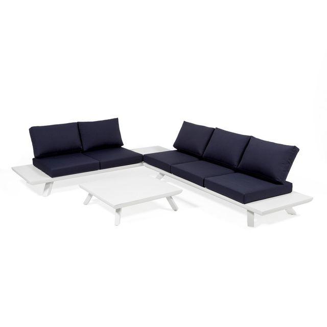 axe design salon bas de jardin 5 6 personnes en aluminium blanc et coussins - Canape Bas