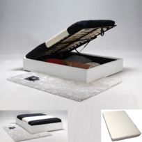 Lit coffre Torino 140X190 + 1 matelas memoryform + 1 sommier/ Blanc