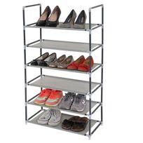 Mendler - Étagère / range-chaussures / meuble de rangement Brügge, 6 tablettes à chaque fois