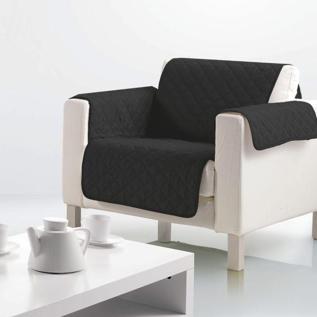 les douces nuits de ma housse de fauteuil microfibre 160x179 cm noir pas cher achat vente. Black Bedroom Furniture Sets. Home Design Ideas