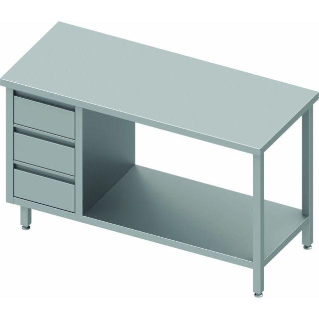 Materiel Chr Pro Table Inox Pro - 3 Tiroirs & Etagère - Sans Dosseret - Gamme 800 - Stalgast - inox 800x800 800