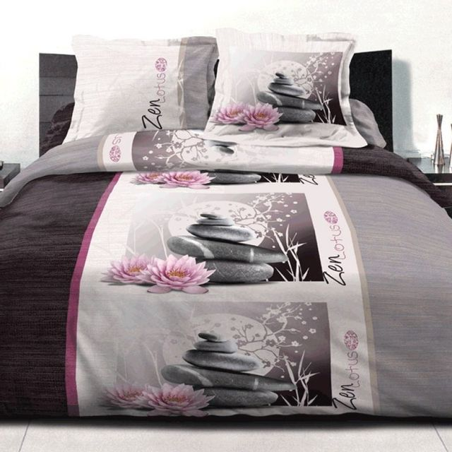 100pourcentcoton housse de couette 220x240 cm microfibre zen lotus 2 taies d 39 oreiller 63x63. Black Bedroom Furniture Sets. Home Design Ideas