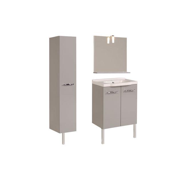 Ensemble Miroir + vasque + meuble sous vasque + colonne coloris gris