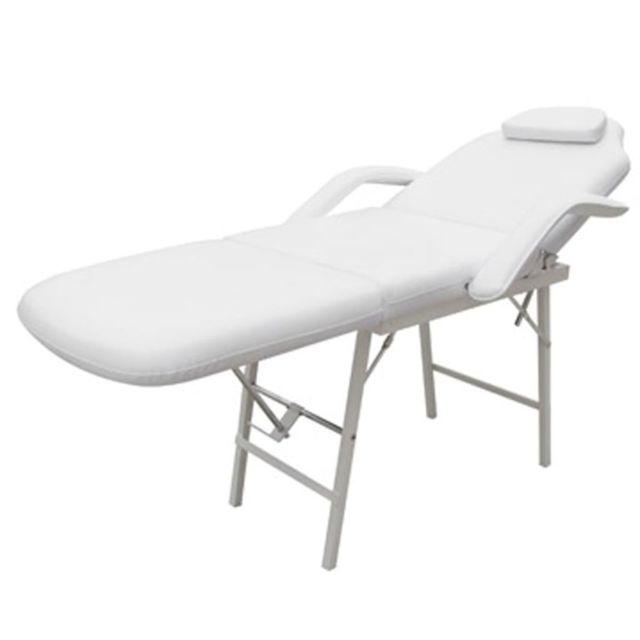 Icaverne - Fauteuils de massage reference Fauteuil de soins inclinable et pliant blanc crème