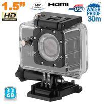 Yonis - Caméra sport action étanche 1.5'' Hd 720p grand angle 140° noir 32Go
