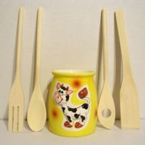 B.E.C. - Pot de cuisine jaune décor Vache + 4 ustensiles