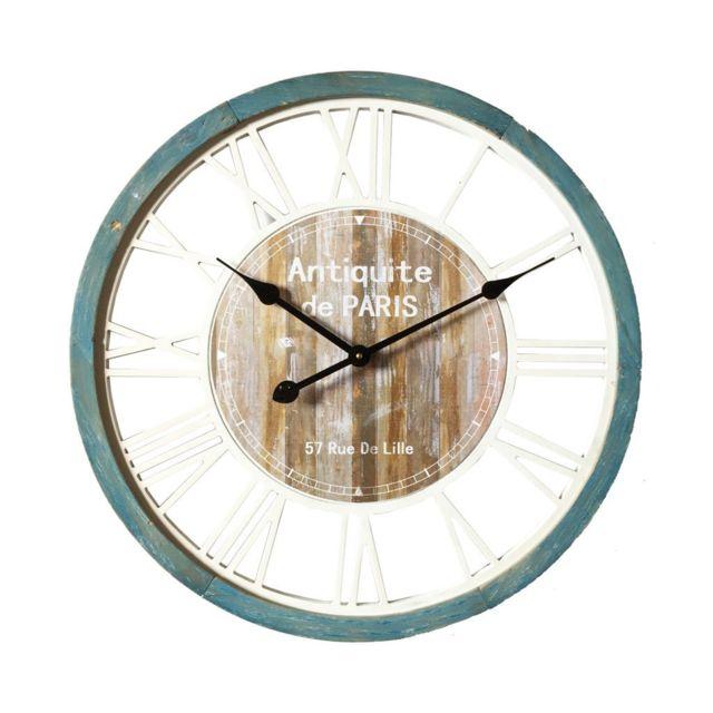 Mobili Rebecca Horloge de Mur Pendules Décor Mdf Cuisine Salon Paris 60x60x4,5