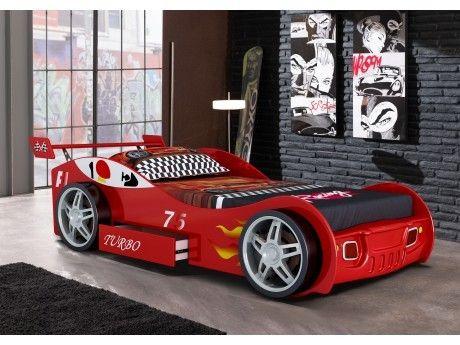Vente-unique Lit voiture Runner avec tiroir - 90x200 cm - Rouge
