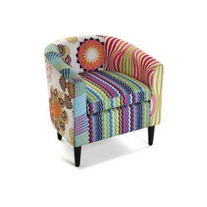 Declikdeco Fauteuil Patchwork Multicolore Farla Pas Cher Achat - Fauteuil multicolore design