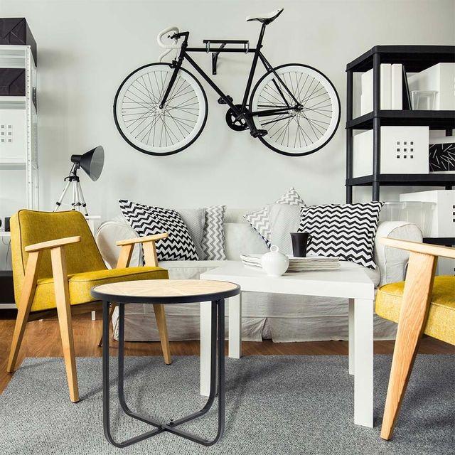 Ego Design - Table basse Hook ronde bois et métal noir 46cm x 46cm x 45cm