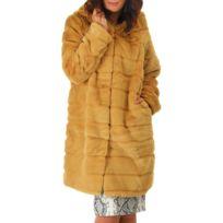 LAMODEUSE - Manteau long noir à capuche en fausse fourrure - pas ... 1c39e6bfb5b