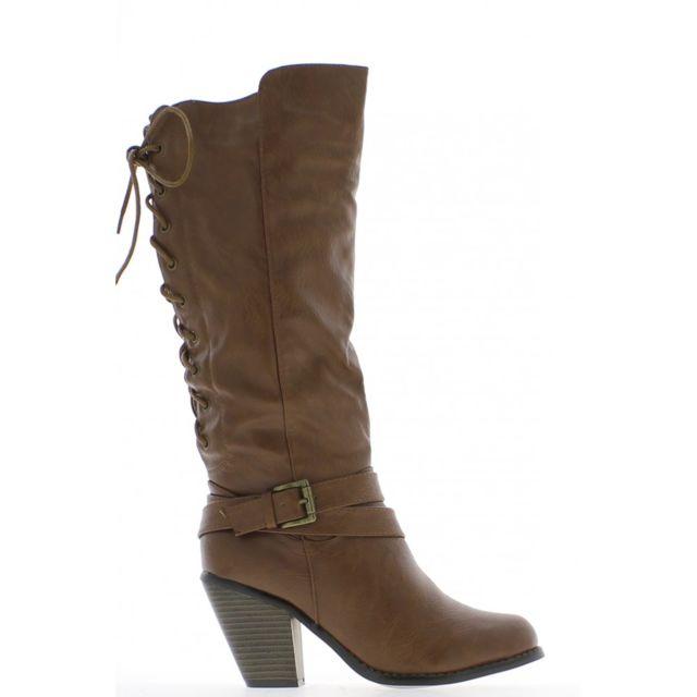2eea6e31065 Chaussmoi - Bottes femme camel à talons de 8cm aspect cuir brillant à lacet