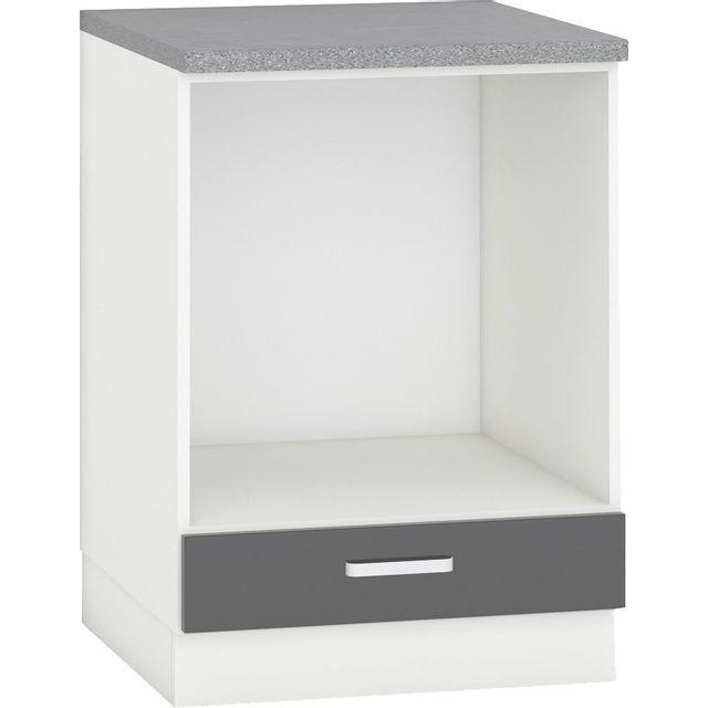 Meuble Bas Pour Cuisine.Meuble Bas De Cuisine Design Pour Four 60 Cm Avec 1 Tiroir Coloris Blanc Mat Et Gris Laque