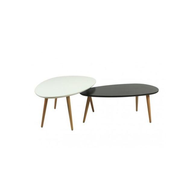 Marque Generique Tables basses gigognes Pamy - Mdf laqué & hêtre massif - Coloris blanc & noir