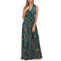 fbaf90efdb8 Lamodeuse - Robe verte longue à imprimé foulard
