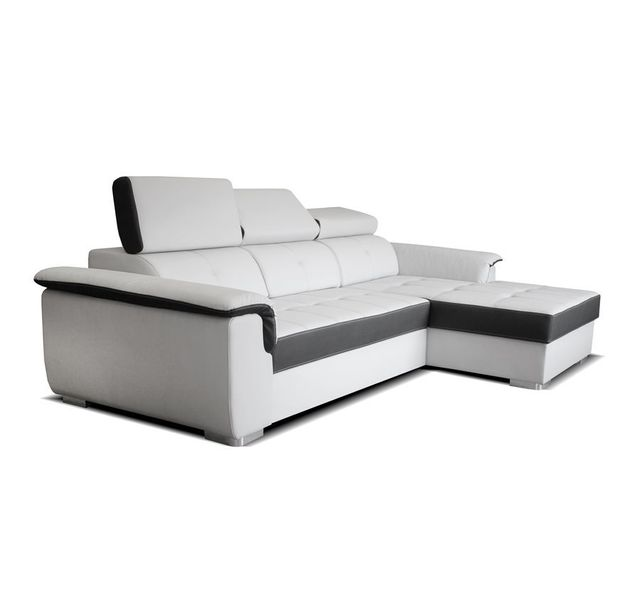 9a718865c180b CHLOE DESIGN - Canapé d angle convertible design NYREE - Blanc et gris -  Angle