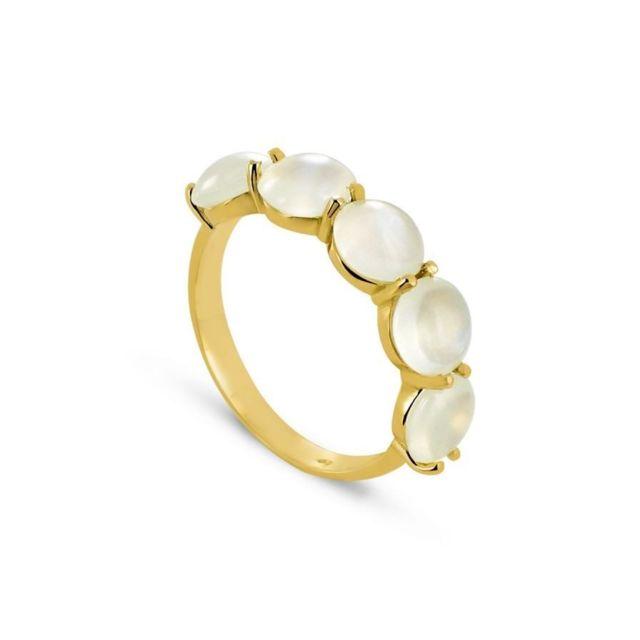 Tousmesbijoux Bague Or jaune 750/00 et pierres de lune blanches
