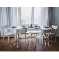 table salle a manger blanche plateau bois - Achat table salle a ...