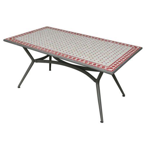 Carrefour table de jardin m tal et c ramique cerise 90cm x 160cm x 74cm pas cher achat - Carrefour table de jardin ...