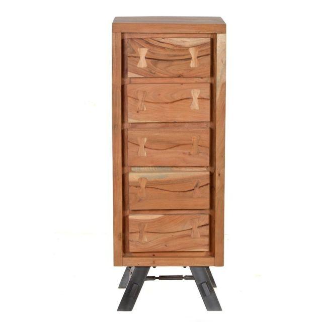 Tousmesmeubles Chiffonnier 5 tiroirs - Fabace - L 45 x l 35 x H 121