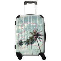 Ikase - Valise Lulu Castagnette - Tropical Day - Impression Multicouleurs - 50 cm Gris