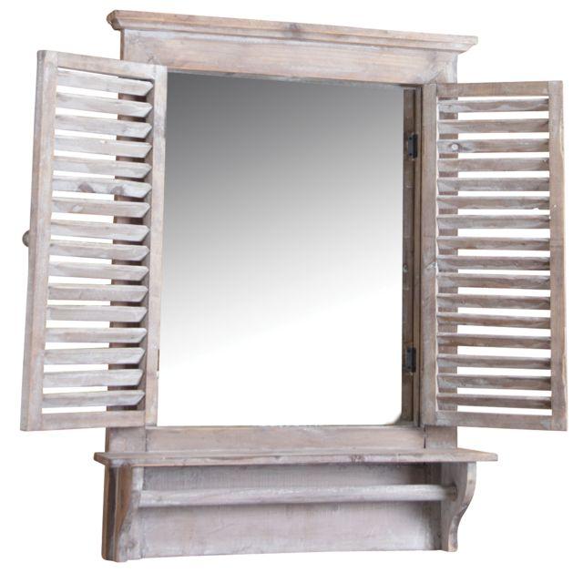 AUBRY GASPARD Fenêtre miroir en bois teinté avec tablette