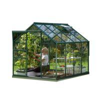 LAMS - Serre de jardin en verre Vénus 5 m² + Base - Vert