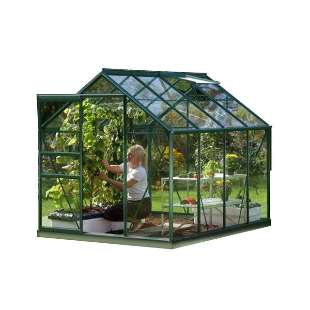 Lams serre de jardin en verre v nus 5 m base vert - Serre de jardin en verre pas cher ...