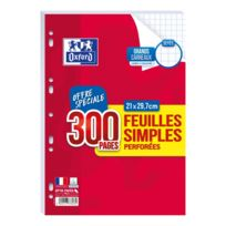 OXFORD - Lot de 300 feuilles simples perforées A4 - Grands carreaux
