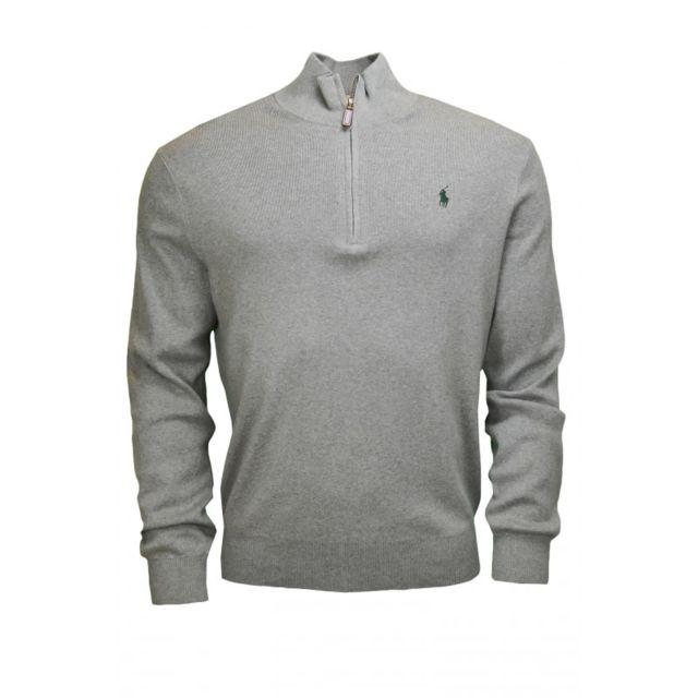 Ralph Lauren - Pull en laine demi-zippé gris pour homme - pas cher ... 63a50a53b0f