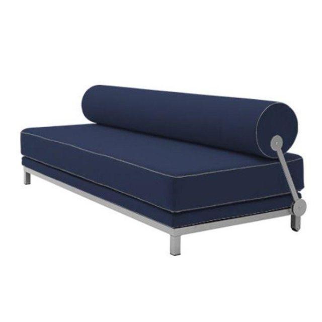 Inside 75 Canapé lit convertible design Sleep en tissu coton bleu nuit structure aluminium Softline