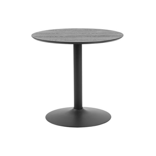 Miliboo Table à manger ronde bois noir et métal D80 cm Kali