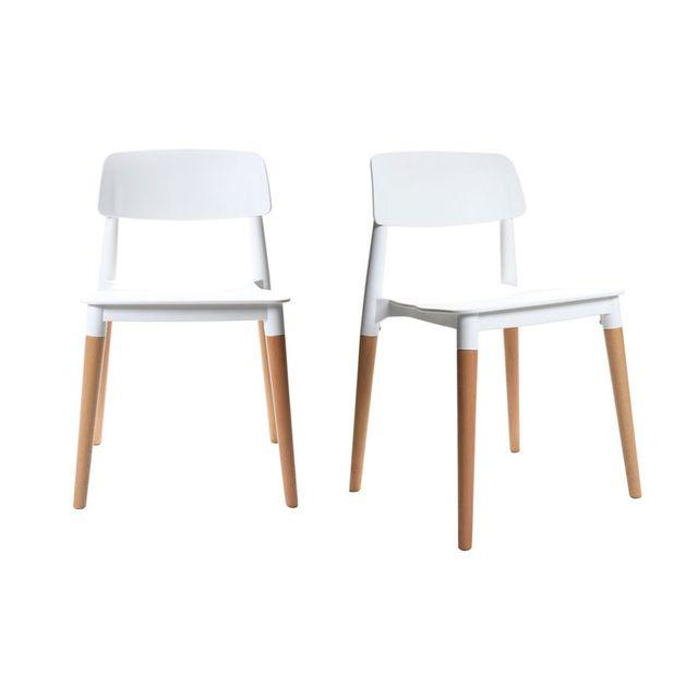 Miliboo Chaises Design Scandinave Blanches Lot De 2 Gilda Pas
