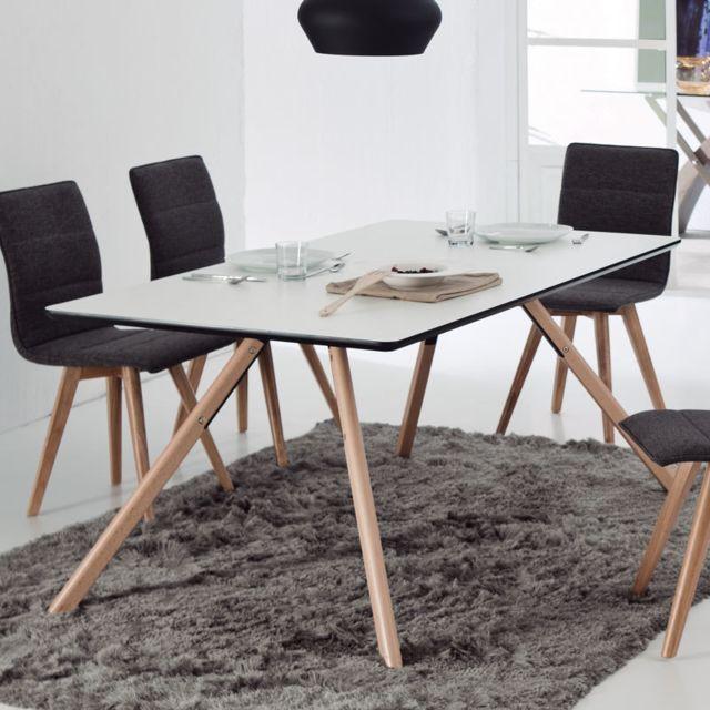 Nouvomeuble Table à manger blanche en hêtre scandinave Ragnar