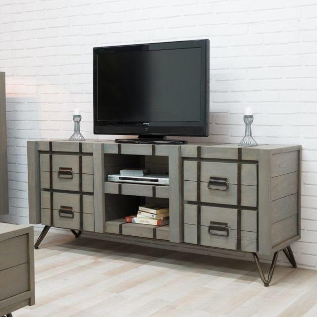 Wanda Collection Meuble Tv Bois En Mindi Loft Gris 160x45 Pas